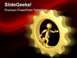 Businessman In Gears Industrial PowerPoint Templates And PowerPoint Backgrounds 0411