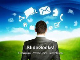 Businessman Mind Business PowerPoint Template 0810