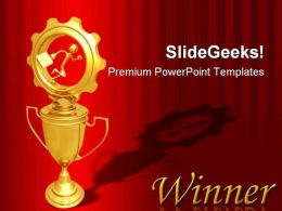 Businessman Running On Trophy Competition PowerPoint Templates And PowerPoint Backgrounds 0511