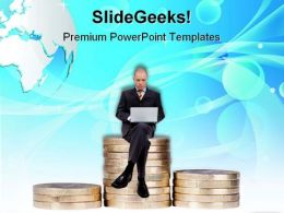 Businessman Sitting On Money Finance PowerPoint Templates And PowerPoint Backgrounds 0911