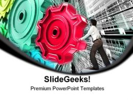 Businessman Turning Gears Industrial PowerPoint Templates And PowerPoint Backgrounds 0311