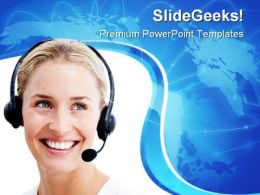 Businesswoman Communication PowerPoint Templates And PowerPoint Backgrounds 0711