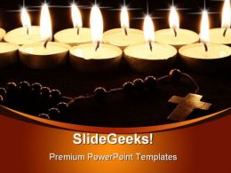 Candles With Cross Religion PowerPoint Templates And PowerPoint Backgrounds 0311
