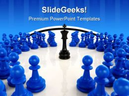 Chess King Surrounded Game PowerPoint Templates And PowerPoint Backgrounds 0211