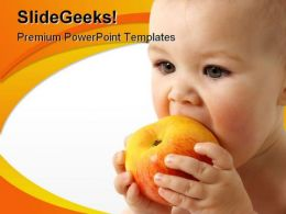 Child Eats Apple Health PowerPoint Template 0810