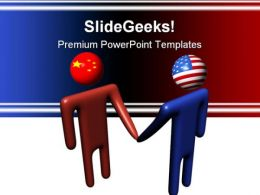 Chinese American Meeting Handshake PowerPoint Templates And PowerPoint Backgrounds 0811