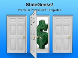 Choose The Door Dollar PowerPoint Background And Template 1210