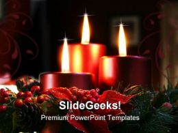 Christmas Candles In Wreath Holidays PowerPoint Template 1010