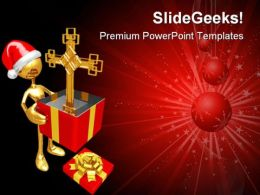 Christmas Gift Cross Festival PowerPoint Templates And PowerPoint Backgrounds 0811