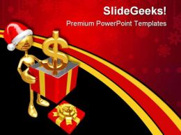 Christmas Gift Dollar Festival PowerPoint Templates And PowerPoint Backgrounds 0711