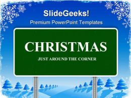 Christmas Highway Sign Festival PowerPoint Templates And PowerPoint Backgrounds 0911