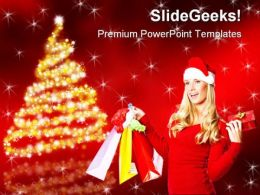Christmas Shopping Holidays PowerPoint Template 1010