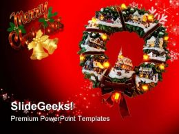 Christmas Wreath Festival PowerPoint Templates And PowerPoint Backgrounds 0611