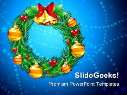 Christmas Wreath Holidays PowerPoint Backgrounds And Templates 1210