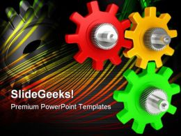 Colored Gears Industrial PowerPoint Templates And PowerPoint Backgrounds 0711
