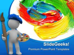 Colored Paint Art PowerPoint Templates And PowerPoint Backgrounds 0511
