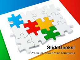 Colored Puzzle Teamwork PowerPoint Templates And PowerPoint Backgrounds 0211
