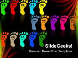 Colorful Feet Diversity Global PowerPoint Templates And PowerPoint Backgrounds 0411