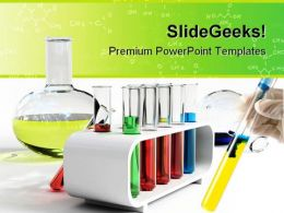 Colorful Flasks Science PowerPoint Backgrounds And Templates 1210