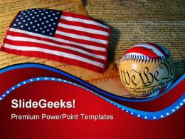 Constitution Baseball And Flag Americana PowerPoint Templates And PowerPoint Backgrounds 0611