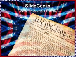 Constitution On Flag Americana PowerPoint Templates And PowerPoint Backgrounds 0611
