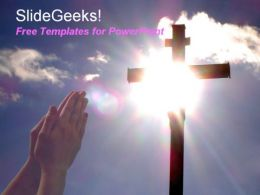 Hand praying to jesus christ cross in hilltop with sun shining in background free powerpoint templates ppt themes presentation backgrounds1