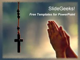 Hand praying to jesus christ cross religious christanity free powerpoint templates ppt themes presentation backgrounds1