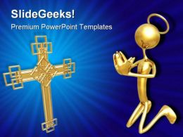 Cross And Prayer Religion PowerPoint Templates And PowerPoint Backgrounds 0811