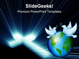 Cross Blue Lights Globe PowerPoint Templates And PowerPoint Backgrounds 0211