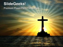 Cross In Water Religion PowerPoint Template 0610  Presentation Themes and Graphics Slide01