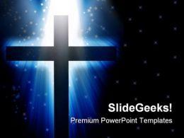 Cross Light Religion PowerPoint Template 0610