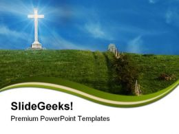 Cross On The Hill Religion PowerPoint Templates And PowerPoint Backgrounds 0811