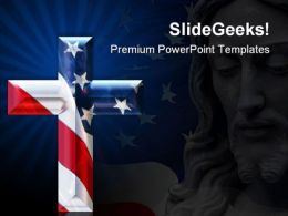 Cross With Usa Flag Americana PowerPoint Templates And PowerPoint Backgrounds 0711