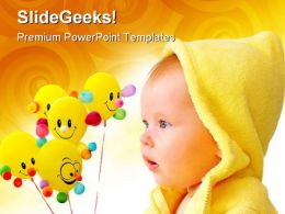 Cute Child With Balloons Baby PowerPoint Templates And PowerPoint Backgrounds 0711