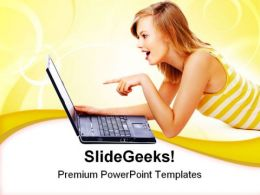 Cute Teenager With Laptop Internet PowerPoint Templates And PowerPoint Backgrounds 0211