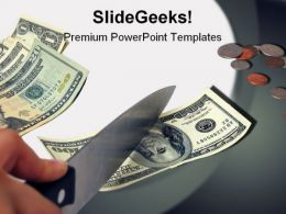 Cutting Costs Money PowerPoint Template 0910