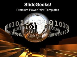 Digital Earth With Code Global PowerPoint Templates And PowerPoint Backgrounds 0611
