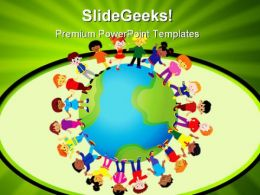 Diveristy Children Global PowerPoint Background And Template 1210