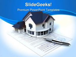 Documents On The House Real Estate PowerPoint Templates And PowerPoint Backgrounds 0411