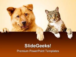 Dog Cat Friends Animals PowerPoint Backgrounds And Templates 1210