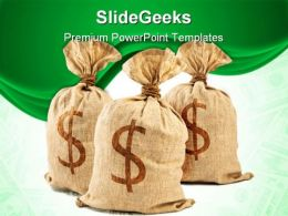 Dollar Bags Money PowerPoint Backgrounds And Templates 1210