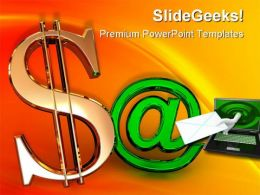 Dollar With At Internet PowerPoint Templates And PowerPoint Backgrounds 0711