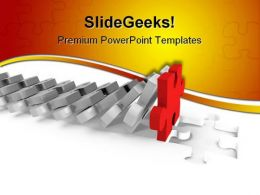 Domino Of Puzzle Business PowerPoint Templates And PowerPoint Backgrounds 0511