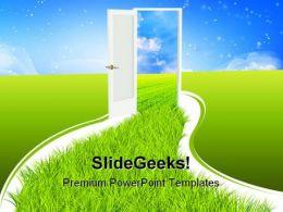 Door Nature PowerPoint Template 0610