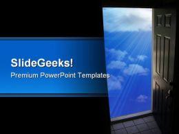 Door To Sky Nature PowerPoint Template 0810
