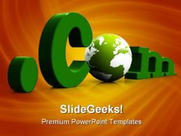 Dot Com With Globe Computer PowerPoint Templates And PowerPoint Backgrounds 0211