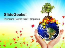 Earth With A Tree Globe PowerPoint Templates And PowerPoint Backgrounds 0611