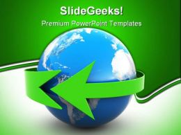 Earth With Green Arrow Business PowerPoint Templates And PowerPoint Backgrounds 0211