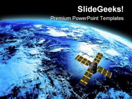 Earth With Satellite Global PowerPoint Templates And PowerPoint Backgrounds 0611