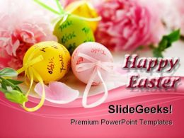 Easter Eggs And Spring Flowers Festival PowerPoint Templates And PowerPoint Backgrounds 0311